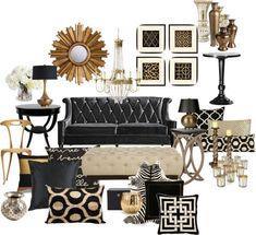 living room sofa set ideas New Living Room, My New Room, Black And Gold Living Room, Black Sofa Living Room Decor, Gold Rooms, White Rooms, Gold Home Decor, Living Room Inspiration, Color Inspiration
