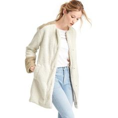Gap Women Cozy Sherpa Collarless Coat ($168) ❤ liked on Polyvore featuring outerwear, coats, stone, tall, white collarless coat, faux shearling coat, sherpa coat, collarless coat and long sleeve coat