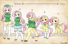 Fluttershy from human to pony