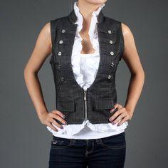 Steam punk pink Army sweatshirts for women | Gray Pinstripe Ruffle Steampunk Military Vest Top | 48326