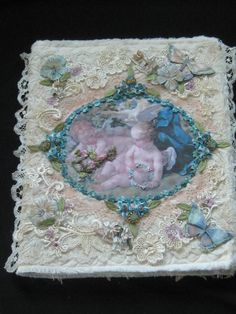 One of a Kind Shabby Chic Fabric Collage Book by KISoriginals