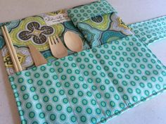 Picnic Utensil Roll Camping Cutlery Roll by ShadowValleyBoutique
