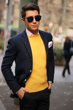 Blue blazer, yellow cardigan, pink pocket handkerchief