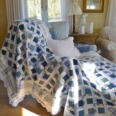 denim/crochet blanket