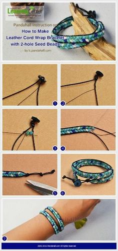 Pandahall Instruction on How to Make Leather Cord Wrap Bracelet with 2-hole Seed Beads from LC.Pandahall.com | Jewelry Making Tutorials & Tips 2 | Pinterest by Jersica