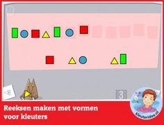 Reeksen maken met vormen, kleuters op digibord of computer, kleuteridee, Kindergarten math game for IBW or computer