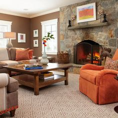 Orange Decor, Brown Living Room...love The Brown And Cream With Pops