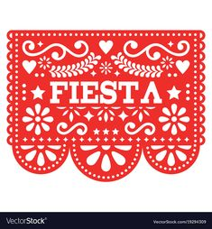 Mexican Fiesta Papel Picado vector design in red - party garland paper cut out with flowers and geometric shapes. Traditional decoartions from Mexico, party decor background isolated on white red Geek Party, Mad Tea Parties, Fiesta Theme Party, Kids Birthday Themes, Party Garland, Mermaid Parties, Mexican Party, Paper Decorations, Vector Design