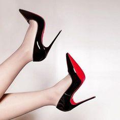 black and white stiletto heels Platform High Heels, Black High Heels, High Heel Boots, High Heel Pumps, Pumps Heels, Stilettos, Black Stiletto Heels, Pointed Toe Heels, Christian Louboutin Red Bottoms