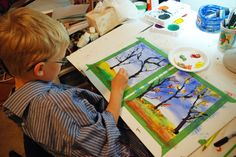 """teaching through art- """"that artist woman"""" taught about the fall through watercoloring"""