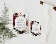 Burgundy and Navy Floral Wedding Invitation Suite, Fall Wedding Invitation Set, Autumn Wedding Invite, Marsala, Corjl Editable Template 352 Invitation Suite, Invite, Wedding Shower Decorations, Wedding Suite, Fall Wedding Invitations, Wedding Welcome, Custom Cards, Autumn Wedding, Marsala