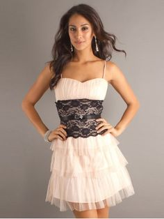 Affordable Light Pink Black Lace Prom Dress
