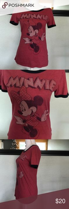 Disney Minnie Mouse tshirt Cute Minnie Mouse T by Disney. Vintage look. Red shirt body with navy blue on cuffs and neckline. Super cute! Arm pit to arm pit 16.5, shoulder to hem 24. Disney Tops Tees - Short Sleeve