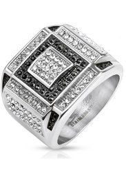 925 Sterling Silver 0.1cttw Diamond and Onyx Black Rhodium-Plated Cross Mens Ring Size-11