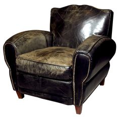 Leather Club Chair  USA  20th century  A mid-century leather upholstered club chair, cushioned seat, nail-head decoration, raised on wooden block feet.