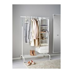 IKEA - RIGGA, Clothes rack - You can easily adjust the height to suit your needs as the clothes rack can be locked in place at 6 fixed levels.There is room for boxes or 4 pairs of shoes on the rack at the bottom. Clothes Stand, Clothes Rail, Small Space Living, Small Spaces, Hanging Clothes Racks, Ikea Clothes Rack, Hanging Storage, Storage Room, Country Homes Decor