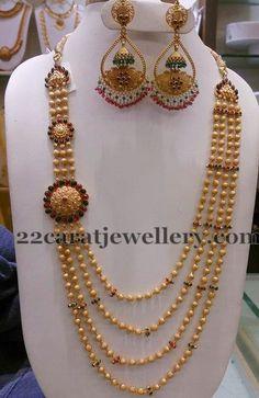 Jewellery Designs: Gold Haram with Chandbalis