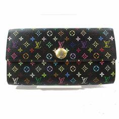 968be15e00a7 Authentic Louis Vuitton Long Wallet Portefeuille Sarah Multicolor Black  352821  fashion  clothing  shoes