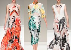 Bibhu Mohapatra S/S 2014 Abstracted Form – Painterly Marks – Mapped Structure Overlays – Warped Photographic Florals – Pattern Patchwork – Optical and Sculptured Construction – Fluid Movement