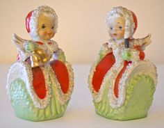 Vtg Japan Xmas 2 Angel Figurine Bell Porcelain Lefton Napco? Spaghetti Xmas 50s