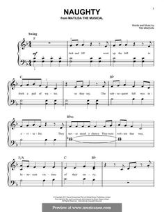 Naughty (from Matilda the Musical): For piano by Tim Minchin