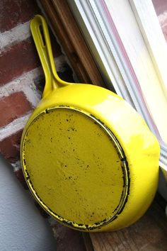 lemon yellow cast iron skillet