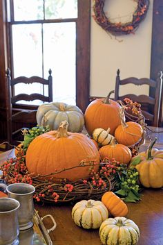 I need to find some bittersweet vine for fall decor. Thanksgiving Decorations, Seasonal Decor, Holiday Decor, Thanksgiving Treats, Thanksgiving Tablescapes, Fall Home Decor, Autumn Home, Welcome Fall, Autumn Decorating