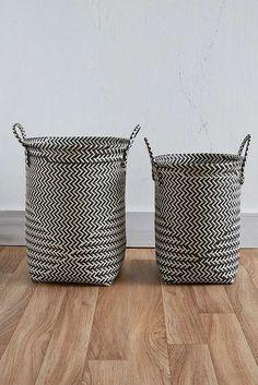 Slide View: 2: Black and White Stripe Wash Basket Set