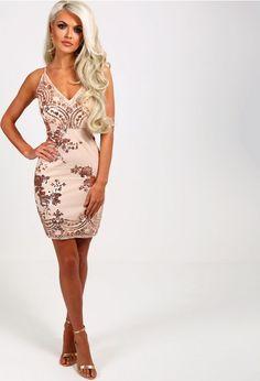 cf7bb272e6 Meilani Rose Gold Sequin Mini Dress
