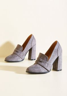 Scholars and Sense Vegan Heel in Pewter. Its a safe bet that these grey heels are the smartest style choice you'll make all semester! #grey #modcloth