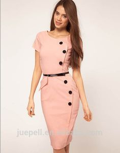 2014 Summer Women Colorful V-Neck Knee Length Button Vintage Bandage Business Party Career Work Wear Bodycon Casual Pencil Dress Look Retro, Look Vintage, Vestidos Vintage, Vintage Dresses, Top Fashion, Womens Fashion, Dress Fashion, Paris Fashion, Pink Fashion
