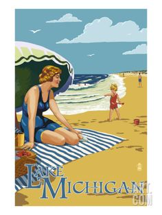 Lake Michigan Beach Scene Vintage Inspired Poster by Lantern Press at Art.com