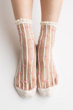 Women New Hezwagarcia Ivory Cute Ribbon Striped Ruffle Frill Nylon Sheer See Through Ankle Socks