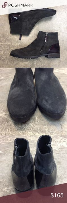 """PAUL GREEN Ankle Boot O127 These designer ankle boots are by Paul Green! 😍😍😍Size US 9 although they say UK Size 6.5.  They are calfskin suede leather in a dark charcoal color. The back of heel is a patent dark plum color. Outside side zip and about 1"""" low heel! ***Great condition, the sided shows very light scuffs/ wear. Lining is perfect, sole show's only worn outside about 2 times! Paul Green Shoes Ankle Boots & Booties"""