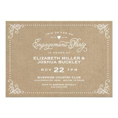 This Deals Burlap Rustic Vintage Script Engagement Party 5x7 Paper Invitation Card online after you search a lot for where to buy