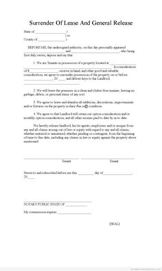 General Release Template Sample Printable Lease Agreement Form  Printable Real Estate Forms .