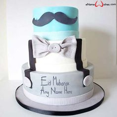 Write name on Mustache Themed Eid Name Cake with Name And Wishes Images and create free Online And Wishes Images with name online. - Happy Eid Mubarak Wishes  IMAGES, GIF, ANIMATED GIF, WALLPAPER, STICKER FOR WHATSAPP & FACEBOOK