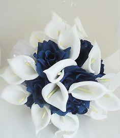 Top Quality Silk Flower Wedding Bouquet Calla Lily Navy Blue Flowers | eBay