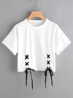 Shop Double Grommet Lace Up Hem Tee online. SheIn offers Double Grommet Lace Up - French Shirt - Ideas of French Shirt - Shop Double Grommet Lace Up Hem Tee online. SheIn offers Double Grommet Lace Up Hem Tee & more to fit your fashionable needs. Girls Fashion Clothes, Teen Fashion Outfits, Kpop Outfits, Girl Outfits, Crop Top Outfits, Cute Casual Outfits, Casual Shirt, Kawaii Clothes, Diy Clothes