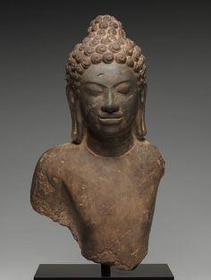 Bust of Buddha, c. 700 Central Thailand, Dvaravati, Mon-Dvaravati style, 7th-9th Century limestone,