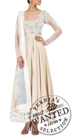 VARUN BAHL Ivory and silver anarkali with bead embellished yoke and sheer sleeves