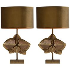 Pair of Signed Maison Charles Bronze Lamps  France  1970's  A pair of bronze…