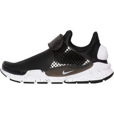 Nike Women Sock Dart Premium Faux Leather Sneakers ($185) ❤ liked on Polyvore featuring shoes, sneakers, black, black rubber sole shoes, black shoes, lightweight shoes, nike and transparent shoes
