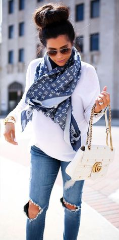 spring fashion Printed Grey Scarf & White Top & Destroyed Skinny Jeans