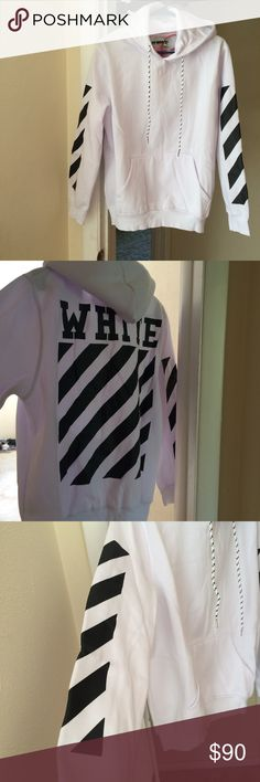 Mens Medium Off-White Hoodie W/ Tags & Product Bag Brand new Men's Medium Size Off-White Hoodie. Exactly how pictures show the hoodie is not worn or dirty AT ALL. Comes with product bag has Ziplock Tags Off-White Shirts Sweatshirts & Hoodies