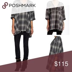 """Free People """"Sammy Jo"""" Tunic NWT size XS plaid tunic top by Free People. Style: Sammy Jo. Color: black plaid combo. Approx. 32"""" shoulder to hem. Dolman sleeves with pleated cuffs. Embroidered neckline. Pockets. Pleating at back waist.  100% cotton. AVAILABLE SOON! Free People Tops Tunics"""