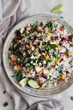 Thai-Cauliflower-RiceThai cauliflower rice salad with peanut butter and ginger sauce | The Awesome Green