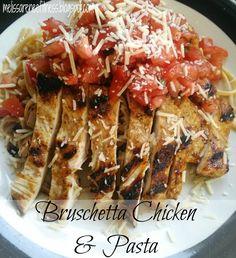 Melissa Renee Fitness: Bruschetta Chicken & Pasta ~ 21 Day Fix friendly! Clean Eating Recipes, Healthy Eating, Cooking Recipes, Healthy Recipes, Atkins Recipes, Healthy Dinners, Pasta Recipes, Chicken Recipes, Bruschetta Chicken Pasta
