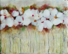 Original Encaustic Painting with Easel  White Spring by KLynnsArt