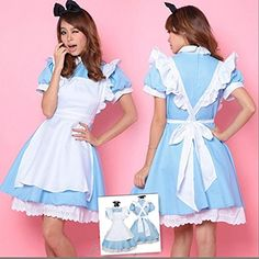 Lolita Women Alice in Wonderland Blue Cosplay Anime Maid Costume sexy Dress lady in Clothing, Shoes & Accessories Modest Halloween Costumes, Alice Costume, Blue Costumes, Costumes For Teens, Halloween Kostüm, Costume Dress, Maid Costumes, Gyaru, Soft Grunge